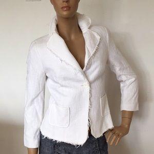Zara White Cotton Tweed Jacket Blazer XS S NWOT